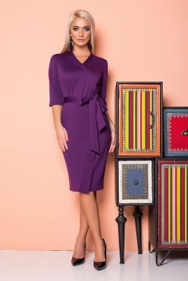 Фиолетовое платье с планкой и поясом