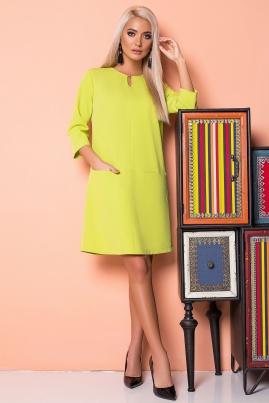 Салатовое платье с 2 карманами и украшением