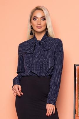 Темно-синяя блуза с галстуком с узором