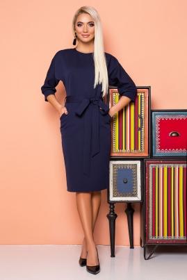 Темно-синее платье с поясом и цельнокроеным рукавом