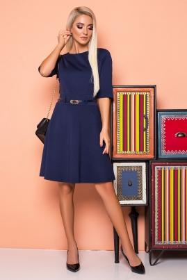 Темно-синее платье со шлевками и поясом