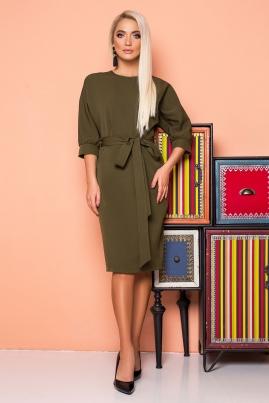 Платье с поясом и цельнокроеным рукавом цвета хаки